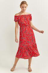 Springfield Vestido Largo Estampado rojo