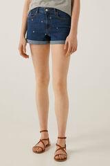 Springfield Calções jeans flores bordadas azul