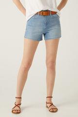Springfield Calções jeans banda prata azul aço