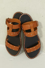 Springfield Sandalia marrón piel tachas marrón
