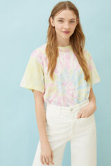 Springfield Camiseta estampada tie-dye algodón orgánico fresa