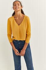Springfield Camiseta Bimateria Escote Pico amarillo