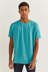 Springfield Camiseta microraya bordado azul city