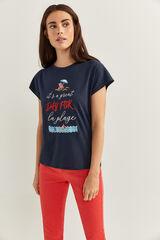 Springfield Camiseta Gráfica Lazo Espalda azul mezcla