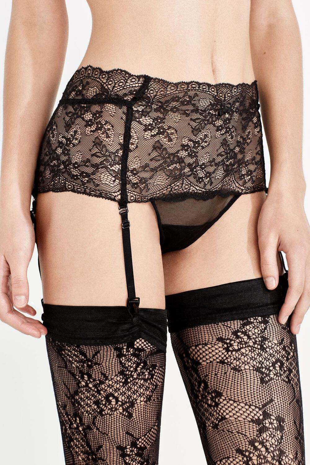 6584c23839 High waisted panties with suspender belt