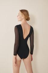 Womensecret Body de tul con escote V negro