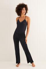Womensecret Pantalón largo ancho liso negro