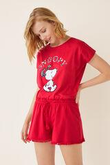 Womensecret Pantalón pijama corto liso rojo