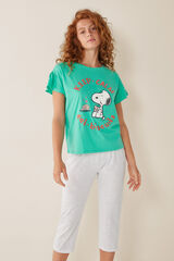 Womensecret Pijama Capri Snoopy verde