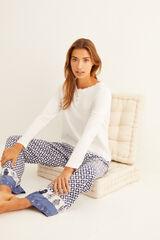 Womensecret Camiseta panadera blanca manga larga detalle encaje beige