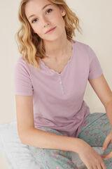 Womensecret Camiseta manga corta lisa algodón rosa
