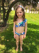 Womensecret Top bikini flores niña azul