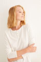 Womensecret Camiseta panadera larga blanco beige