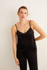 Womensecret Camiseta tirantes de terciopelo negra negro