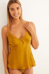 Womensecret Camiseta de satén y encaje mostaza estampado