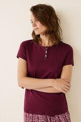 Womensecret Camiseta manga corta lisa algodón  rojo