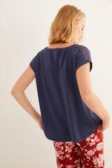 Womensecret Camiseta azul manga corta detalle encaje azul