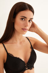 Womensecret GORGEOUS Sujetador push up encaje y tiras negro