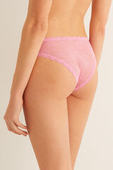 "Womensecret Braguita brasileña ""mesh"" hojas rosa"