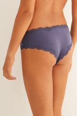 Womensecret Braguita culotte brasileña microfibra detalle encaje azul