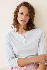 Womensecret Camiseta pijama larga lisa algodón gris