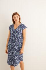 Womensecret Camisón midi manga corta estampado flores azul azul