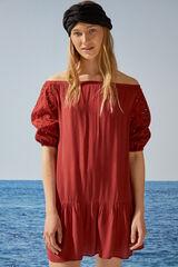 Womensecret Vestido corto bordado mangas abullonadas rojo nude