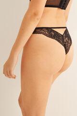 Womensecret Braguita brasileña encaje con detalle trasero negro