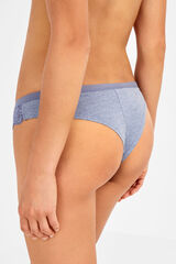 Womensecret Cuecas brasileiras de algodão e renda azul