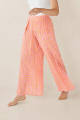 Womensecret Pantalón largo estampado cuadros rosa