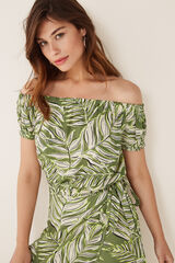 Womensecret Top corto estampado palmeras verde
