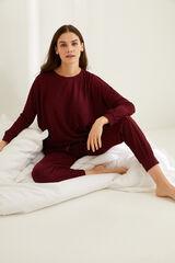 Womensecret Pijama largo invierno plumeti granate rojo