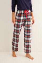 Womensecret Pantalón largo de pijama estampado cuadros crudo rosa