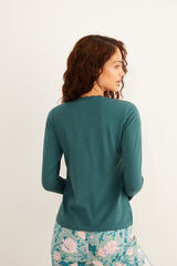 Womensecret Camiseta panadera encaje manga larga verde algodón verde
