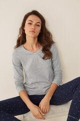 Womensecret Camiseta cuello panadero gris