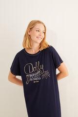 Womensecret Camisa de dormir manga curta Dobby azul azul