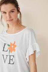 "Womensecret Camiseta volantes ""Love"" beige"