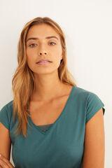 Womensecret Camiseta verde manga corta algodón detalle encaje verde