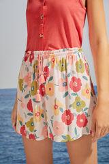 Womensecret Pantalón corto estampado floral blanco
