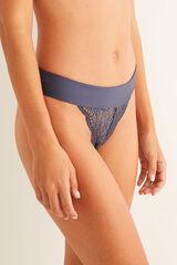 Womensecret Braguita brasileña encaje y microfibra azul azul