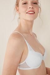 Womensecret BEAUTIFUL Sujetador clásico encaje y plumeti blanco