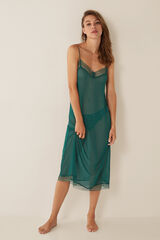 Womensecret Camisa de dormir tule e renda verde