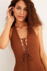 Womensecret Bañador halter escote cordón nude