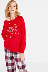 Womensecret Camiseta con pompones rojo