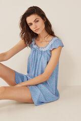 Womensecret Camisa de dormir curta estampagem flores azul
