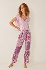 Womensecret Pantalón pijama largo patchwork rojo