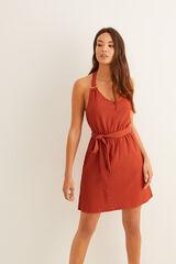 Womensecret Vestido cruzado argolas vermelho