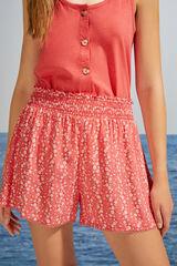 Womensecret Pantalón corto estampado floral rojo estampado