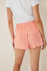 Womensecret Pantalón corto estampado cuadros rosa
