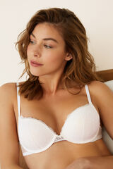 Womensecret GORGEOUS Sujetador súper push up encaje y plumeti blanco